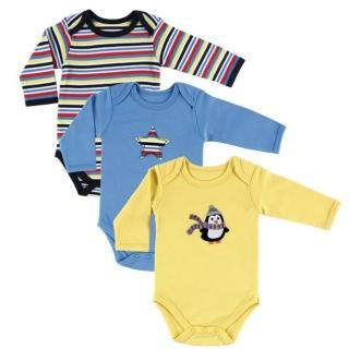 【Luvable Friends】嬰幼兒100%純棉長袖包屁衣3件組_調皮企鵝(LF55020)