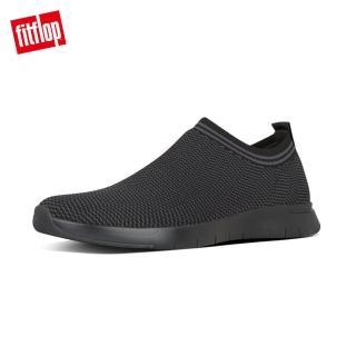 【FitFlop】FINEKNIT SLIP-ON SNEAKERS易穿脫襪套式休閒鞋-男(靚黑色)