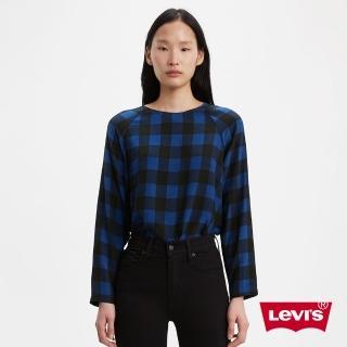 【LEVIS】女款 無肩線長袖上衣 / 寬鬆休閒版型 / 後拉鍊