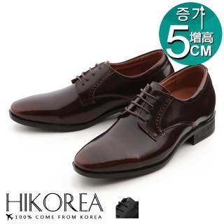 【HIKOREA】韓國空運/版型正常。紳士款增高5cm亮面刷色皮革拼接綁帶尖頭皮鞋(73-369共2色/現+預)