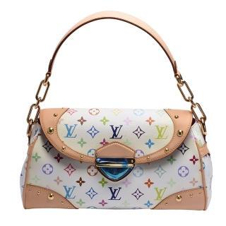 【Louis Vuitton 路易威登】M40203 Beverly MM村上隆Multicolore釦式肩背包(白彩-展示品)