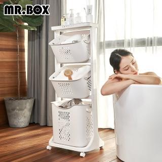 【Mr.Box】雙向取物可攜式洗衣分類收納籃-附輪(三款可選)/