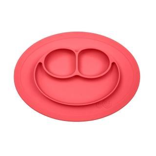 【美國ezpz】mini mat迷你餐盤+餐墊:珊瑚紅(FDA認證矽膠、防掀倒寶寶餐具)