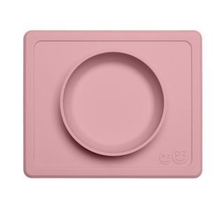 【美國ezpz】mini bowl迷你餐碗+餐墊:玫瑰粉(FDA認證矽膠、防掀倒寶寶餐具)