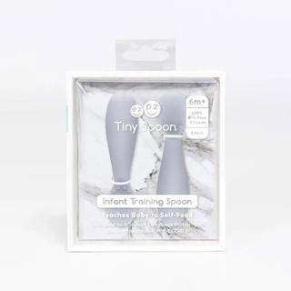 【美國ezpz】tiny spoon迷你湯匙: 星塵灰(2入裝 FDA認證矽膠)
