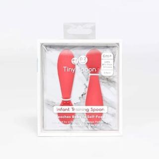 【美國ezpz】tiny spoon迷你湯匙: 珊瑚紅(2入裝 FDA認證矽膠)