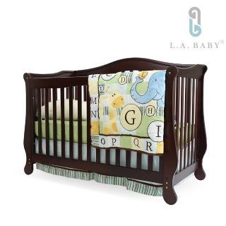 【L.A. Baby】伯蘭特美式四合一嬰兒成長床/嬰兒床(獨立筒彈簧床墊+小護欄-白色)