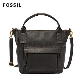 【FOSSIL】Aida艾達休閒風黑色手提側揹兩用包 SHB2098001