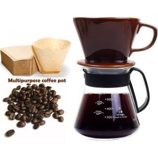 【咖啡沖泡組2】大陶瓷濾杯+台玻600ml塑把壺+附濾紙-/泡咖啡/泡茶濾杯/手沖咖啡濾器/咖啡壺(3件隨機)/
