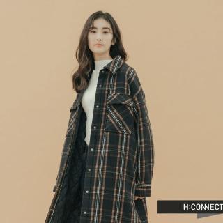 【H:CONNECT】韓國品牌 女裝 -格紋長板羊毛外套(藍色)