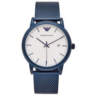 【EMPORIO ARMANI】藍色米蘭錶帶款手錶-白面x藍色/42mm(AR11025)