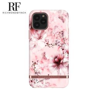 【Richmond&Finch】瑞典手機殼 玫瑰金線框 -粉色大理石紋櫻花(iPhone 11 Pro Max 6.5吋)