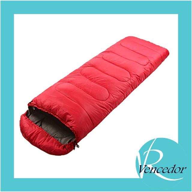 【VENCEDOR】信封型睡袋-1000G(露營 登山 旅行睡袋 單人睡袋 超輕睡袋 帶帽成人戶外露營睡袋-1入)