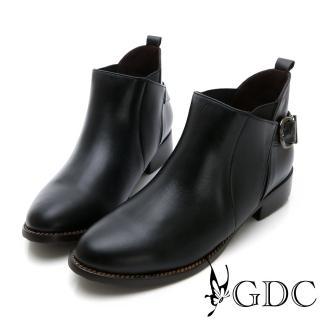【GDC】小巴黎真皮基本款扣環小短靴-黑色(629124)