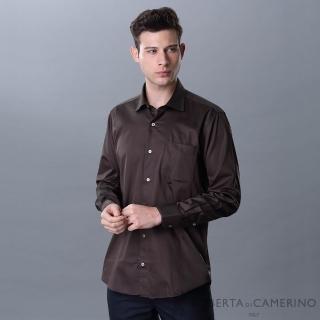 【ROBERTA 諾貝達】進口素材 台灣製 休閒簡約 純棉沉穩長袖襯衫(咖啡)
