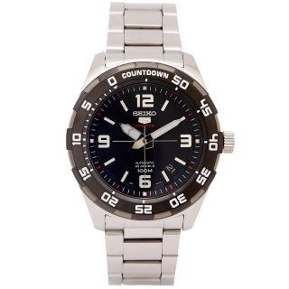 【SEIKO 精工】SPORTS系列五號機芯機械手錶-黑面x銀色/44mm(SRPB81K1)