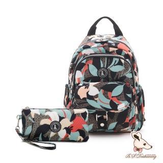【冰山袋鼠】楓糖瑪芝-輕旅單肩後背兩用包+零錢包2件組-熱帶雨林(Z108)