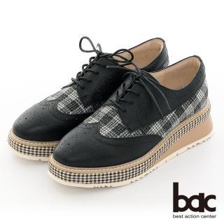【bac】復古風潮小方頭異材質雕花格紋厚底德比鞋(黑色)