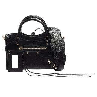 【Balenciaga 巴黎世家】Mini City金釦鱷魚紋小牛皮機車包(黑色300295-DLI2J-1000)