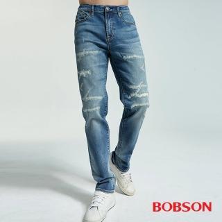 【BOBSON】男款低腰有機棉補丁直筒褲(1832-53)