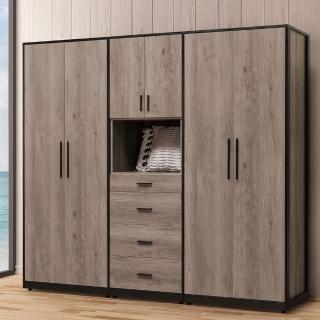 【H&D】古橡木7.2尺衣櫥(衣櫥 組合衣櫥 7尺衣櫥 衣櫃 拉門衣櫃)