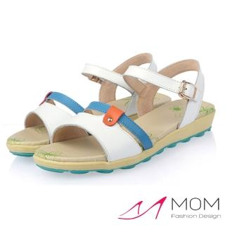 【MOM】甜美拼接撞色小搭釦真皮平底涼鞋(白)