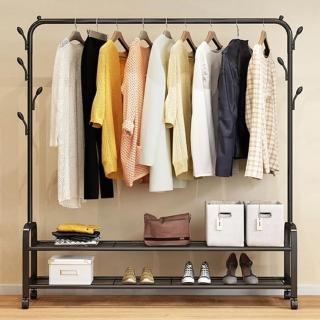 【Ashley House】工業風簡易臥室帶樹杈附雙層置物衣架/衣帽架/室內掛衣架(附輪好移動)