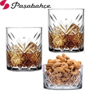 【Pasabahce】格紋威士忌杯345cc(享樂組2杯1皿組)