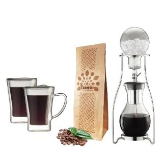 【Tiamo】#13冰滴咖啡壺10人份+雙層玻璃杯170cc-2入(HG2605+HG2053)