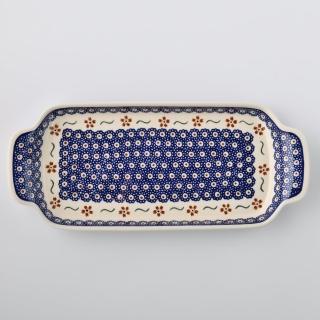 【波蘭陶 Zaklady】紅點藍花系列 托盤 15x33.4 cm 波蘭手工製