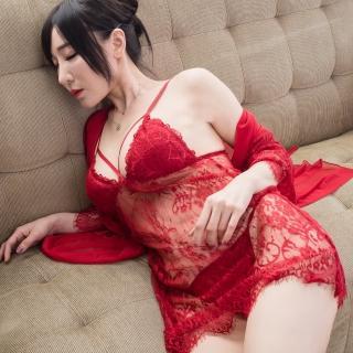 【流行E線】3件式蕾絲睡衣組 精緻蕾絲性感睡衣睡袍組(MA7213)
