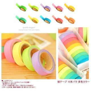 【kiret】紙膠帶 彩虹膠帶組10入 紙膠帶 馬卡龍糖果色(好撕 好黏 不留痕跡)