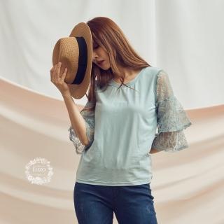 【EIIZO】蕾絲拼接袖奧黛棉造型上衣(藍)