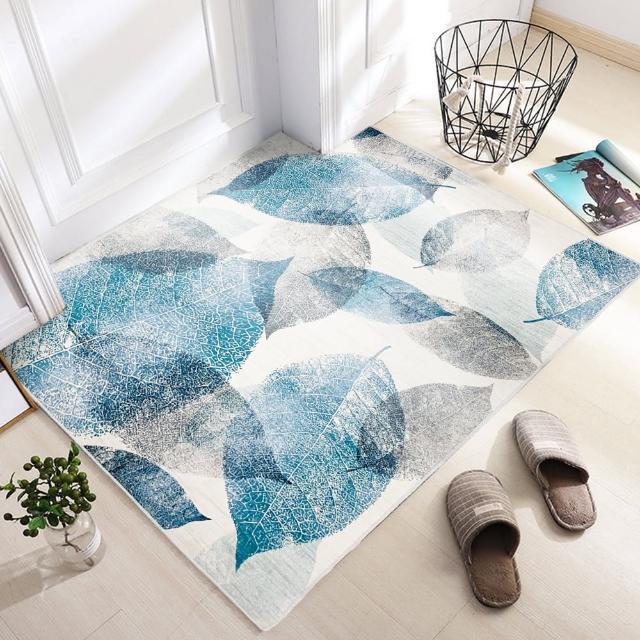 【收納職人】現代簡約輕奢北歐ins風地毯/床邊毯/茶几毯_樹葉有愛/