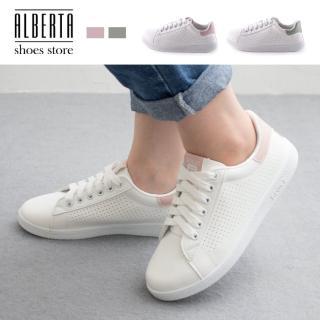 【Alberta】】休閒鞋-MIT台灣製 皮質透氣洞洞鞋面 繫帶簡約布鞋 板鞋 小白鞋