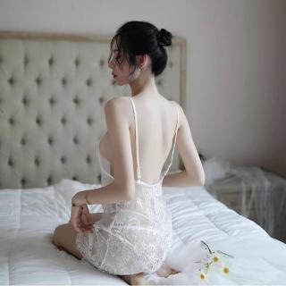 【Sexy angel】深V裸背吊帶透明蕾絲連身短裙性感火辣情趣睡衣內衣夜店女神(角色扮演服爆乳夜店款cosplay)