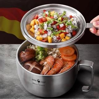 【PUSH!】餐具用品304不銹鋼帶把帶蓋泡麵碗速食麵碗湯碗(大號飯碗便當飯盒E140)
