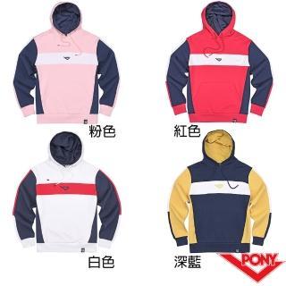 【PONY】長袖玩色運動大學帽T  情侶款  T恤 中性款 四色