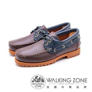 【WALKING ZONE】撞色款 帆船雷根鞋 男鞋(咖啡底)