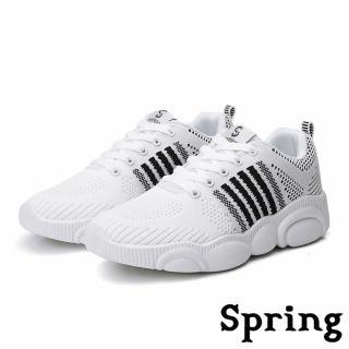 【SPRING】時尚撞色線條透氣飛織可愛小熊底超輕量休閒運動鞋(白)