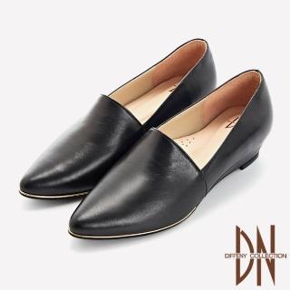 【DN】跟鞋_MIT質感素面全真皮尖頭楔型鞋(黑)