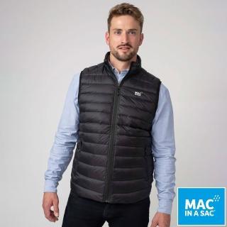 【MAC IN A SAC】男款輕暖袋著走保暖羽絨背心(MNS120黑/戶外休閒/輕量易攜帶/素面百搭款)