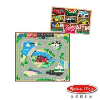 【Melissa & Doug 瑪莉莎】木製交通工具-地墊遊戲組(遊戲地墊 環繞社區+木製交通號誌汽車玩具組)