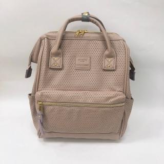 【anello】時尚打孔皮革口金後背包 M尺寸(台灣總代理公司貨)