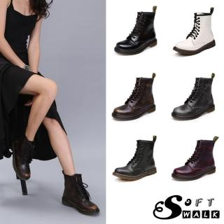 【SOFT WALK 舒步】歐美經典款8孔綁帶真皮馬丁靴 短靴 工程靴(8色任選)