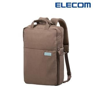 【ELECOM】帆布多功能3WAY薄型後背包OF04 - 咖(迷霧限定色)