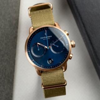 【Nordgreen】Pioneer先鋒x玫瑰金 北歐藍錶盤 波西米亞綠尼龍腕錶 42mm(PI42RGNYAGNA)