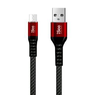【iSee】Micro-B鋁合金扁平菱格紋充電/資料傳輸線1M(IS-C66)
