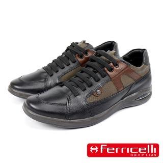 【Ferricelli】Air Equus牛皮綁帶休閒運動鞋(黑色 F47876-BL)