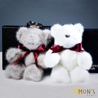 【MON'S】經典小熊水貂毛玩偶吊飾(100%貂毛)